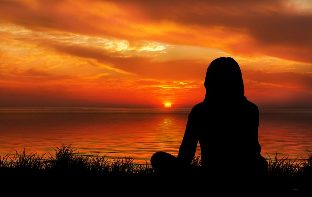 sunset, woman, silhouette