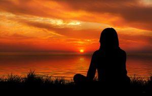 sunset, woman, silhouette